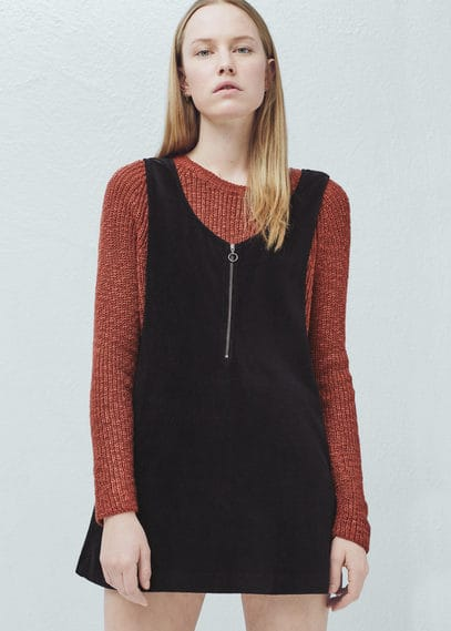 Corduroy pinafore dress | MANGO
