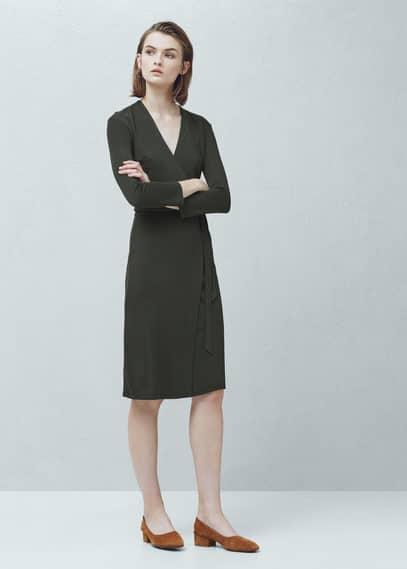Wrap neckline dress | MANGO