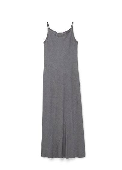 Robe Modal - Tissu en modal mélangé, bretelles fines, col rond, coutures décoratives.