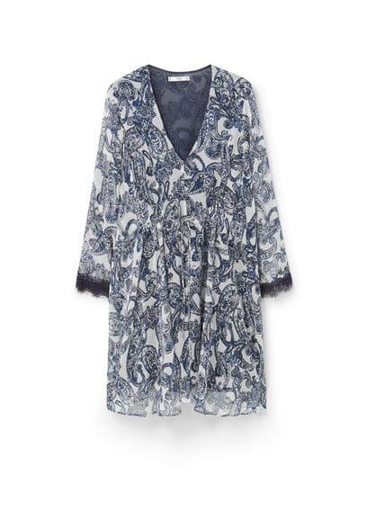 Robe En Imprimé Paisley - Tissu fluide, imprimé paisley, col en V, manches longues, liserés en dentelle, cordon de serrage intérieur à la taille.