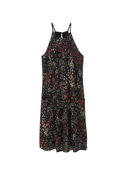 Robe À Fleurs - Tissu fluide, motifs floraux, emmanchures américaines, sans manches, n?ud à la taille, poches latérales, doublure.