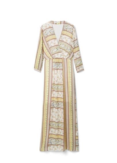 Robe Longue Imprimée - Tissu fluide, imprimé, col cache-c?ur, manches longues, doublure.
