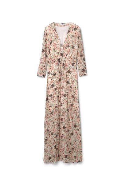 Robe Fluide Imprimé Floral - Tissu fluide, imprimé floral, col cache-c?ur en V, manches longues, bas fendu sur les côtés, doublure.