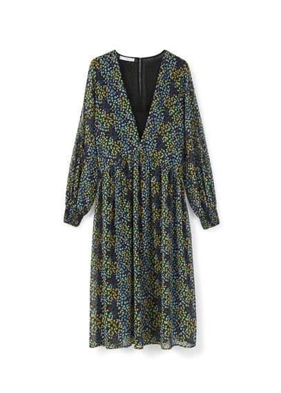 Robe Fluide Imprimé Floral - Tissu fluide, imprimé floral, manches longues fentes aux poignets, détail d'ouverture au dos, doublure.