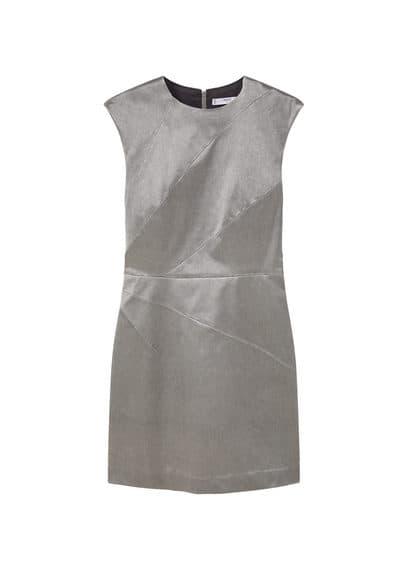 Robe Métallisée - Col rond, Coutures décoratives, Fermeture Éclair à l'arrière, Doublure
