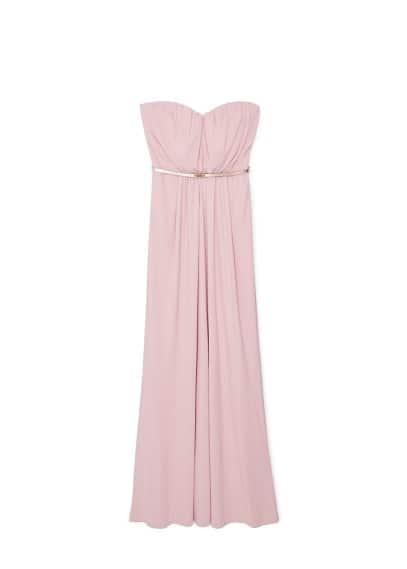 Robe Bustier - Tissu fluide, bustier, détail drapé, ceinture amovible à la taille, fermeture Éclair invisible à l'arrière, doublure.