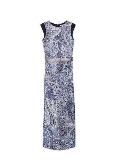 Robe Longue Imprimée - Imprimé, col rond, sans manches, ceinture amovible à la taille, fermeture Éclair à l'arrière, doublure.