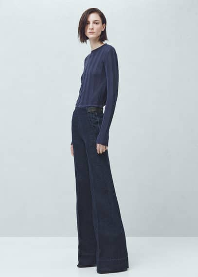 MANGO Premium - Flare Denim Trousers
