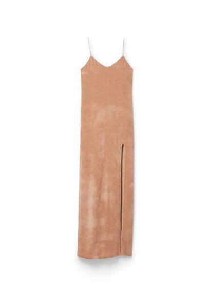 Robe Longue En Velours - Tissu en soie mélangée, col en V, bretelles fines, fente latérale, dos en V, doublure.
