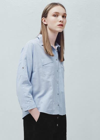 Camisa algodón bolsillos | MANGO