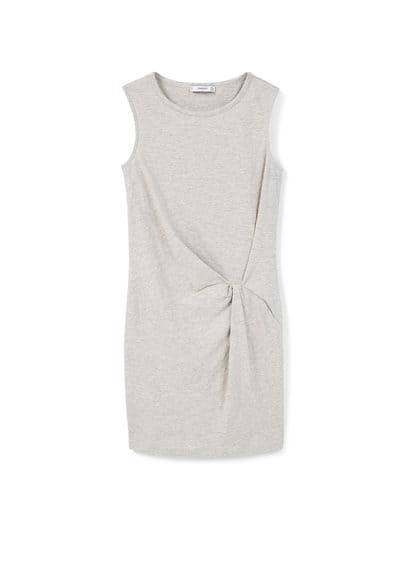 Robe À Détail Froncé - Tissu en coton, jaspé, sans manches, col rond, détail froncé sur le devant.