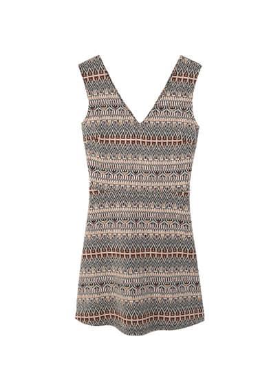 Robe Ouverte Dos - Tissu textur�, bretelles larges, col en V, jupe �vas�e, dos en V, d�tail d'ouverture au dos.