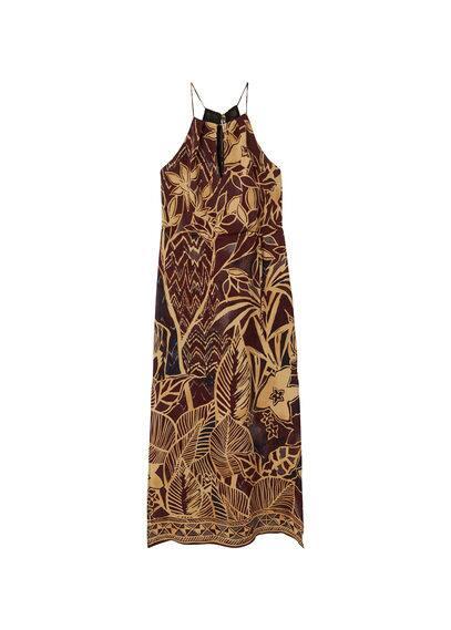 Robe Emmanchures Américaines - Imprimé, Emmanchures américaines, Ouverture sur le devant, Bretelles fines, Cordon de serrage à la taille, Fentes latérales, Lacets