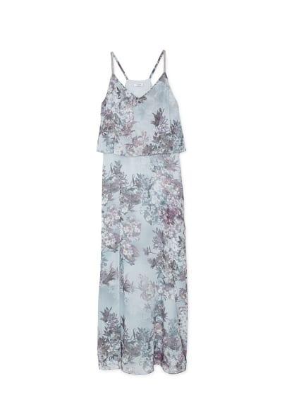 Robe Longue Florale - Tissu fluide, imprimé floral, col en V, bretelles fines, détail perlé, ouverture sur le devant, doublure.