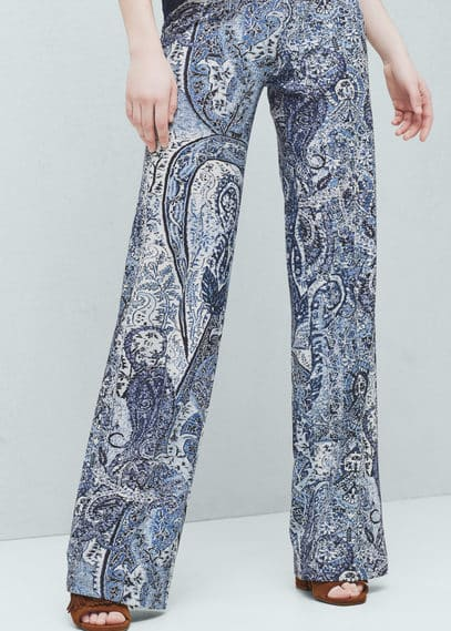 Printed flared trousers | MANGO