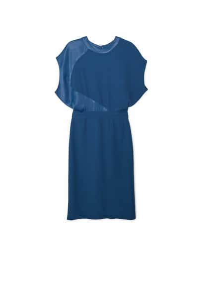Robe Ouverte Dans Le Dos - Tissu fluide, empiècements contrastants, col rond, manches courtes, détail d'ouverture au dos, ceinture amovible à la taille, fermeture crochet.