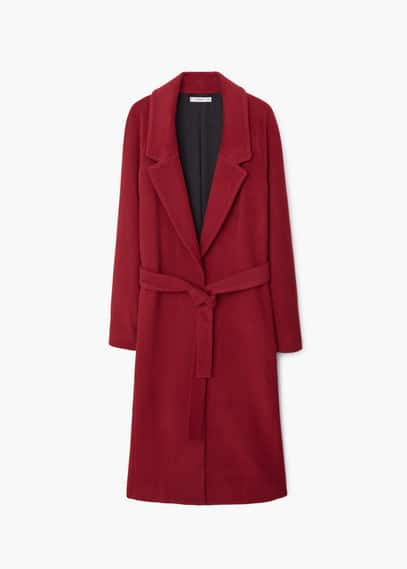 Wide lapel wool-blend coat | MANGO
