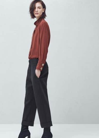 Premium - pantalón crop algodón | MANGO