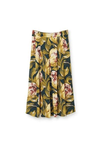 Jupe Midi � Fleurs - Jupe �vas�e avec plis d�coratifs, imprim� floral, fermeture �clair.