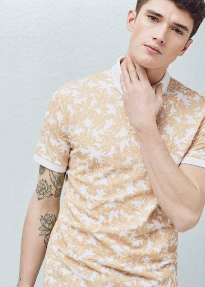 Palm print polo shirt | MANGO MAN