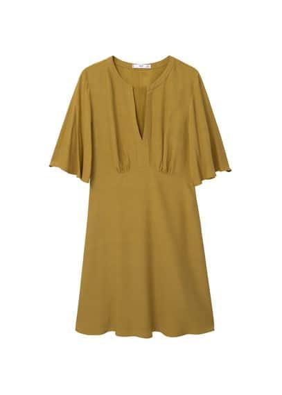 Robe Manches Cloche - Tissu fluide, col rond fendu, manches courtes, manches cloche, jupe évasée.
