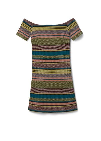 Robe Ajustée Rayée - Ajusté, tissu côtelé, imprimé rayures, col carré, manches courtes.