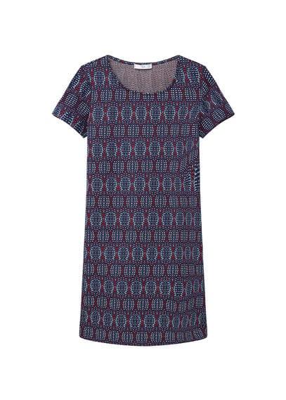 Robe Texturée Contrastante - Texturé, Col rond, Manches courtes