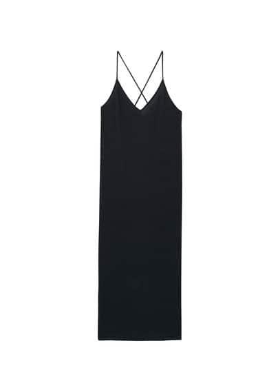 Robe Modal - Tissu en modal mélangé, tissu côtelé, col en V, bretelles fines.