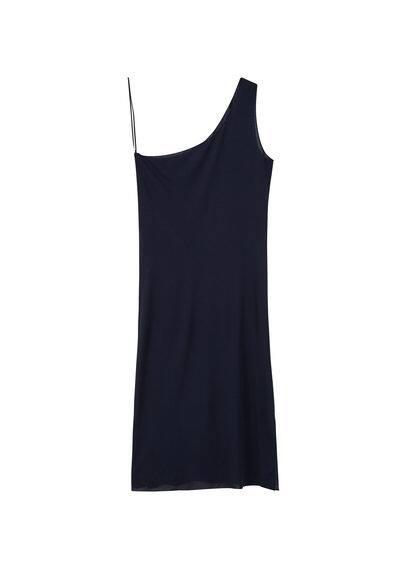 Robe Épaule Dénudée - Col asymétrique, Bretelles larges, Fente latérale