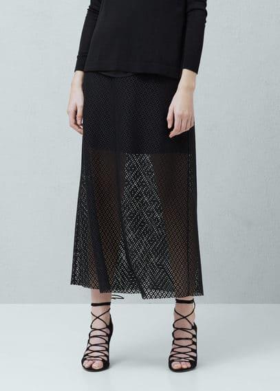 Geometric-pattern openwork skirt | MANGO