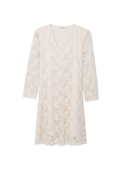 Robe Guipure - Tissu en guipure, col en V, manches trois quarts, bordures festonnées, doublure.