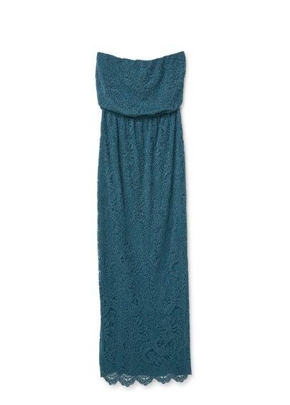 Robe Longue Dentelle - Tissu en dentelle, bustier, épaules dénudées, fronce élastique, ceinture amovible, bordures festonnées, fermeture Éclair à l'arrière, doublure.