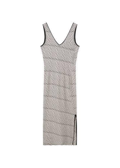 Robe Jacquard - Tissu jacquard, Texturé, Imprimé géométrique, Col en V, Bretelles larges, Fentes latérales, Dos en V