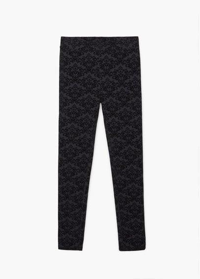 Velvet patterned leggings | MANGO