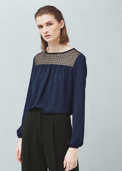 Blusa paneles contraste | MANGO