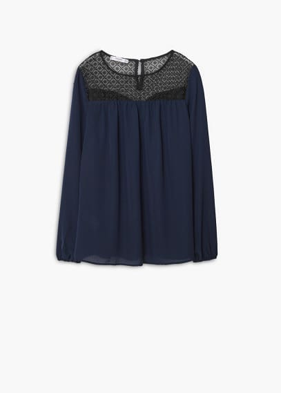 Contrast panels blouse | MANGO