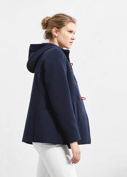 Abrigo algodón capucha | VIOLETA BY MANGO