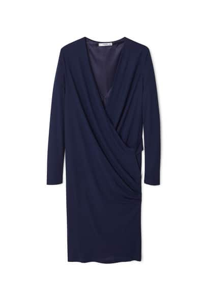 Robe Cache-C?ur Drapée - Tissu fluide, croisé, col en V, manches longues, détails drapés, doublure.