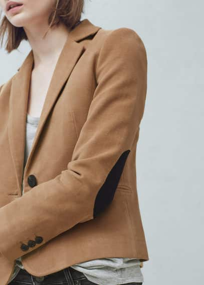 Elbow-patch cotton blazer | MANGO