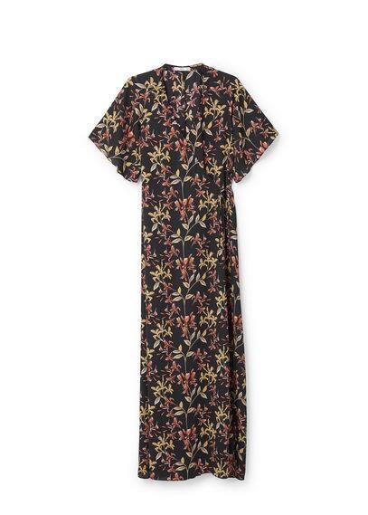 Robe À Fleurs - Tissu fluide, imprimé floral, manches courtes, cordon de serrage.