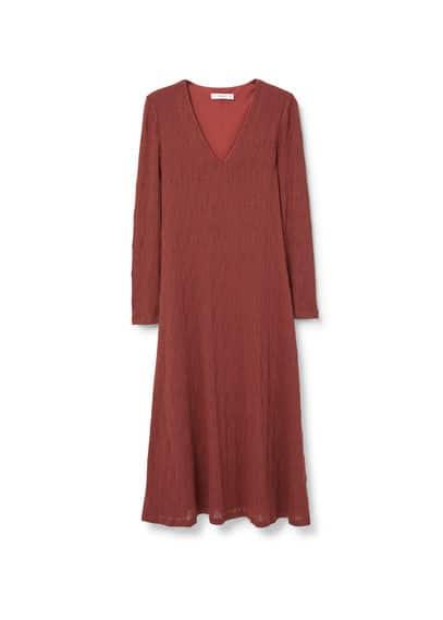 Robe Maille Fine - Tissu en maille fine, motif g�om�trique, col en V, manches longues, jupe �vas�e, doublure.