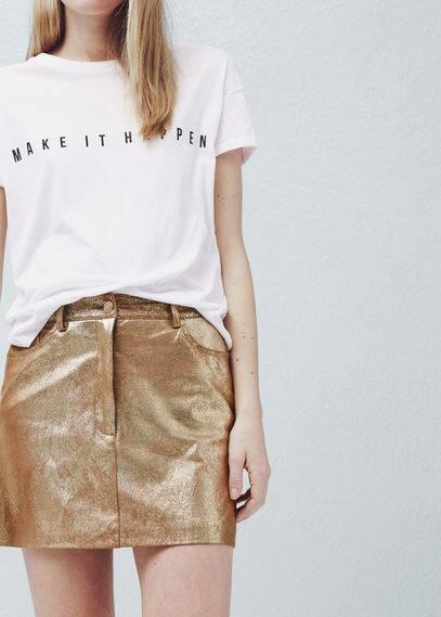 Металлизированная юбка | MANGO
