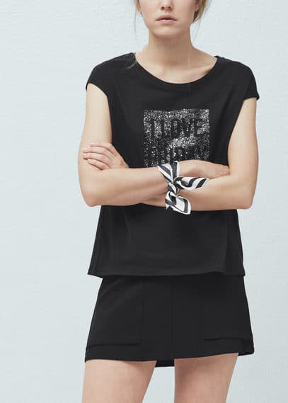 Printed panel t-shirt | MANGO