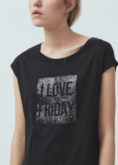 Printed panel t-shirt | VIOLETA BY MANGO
