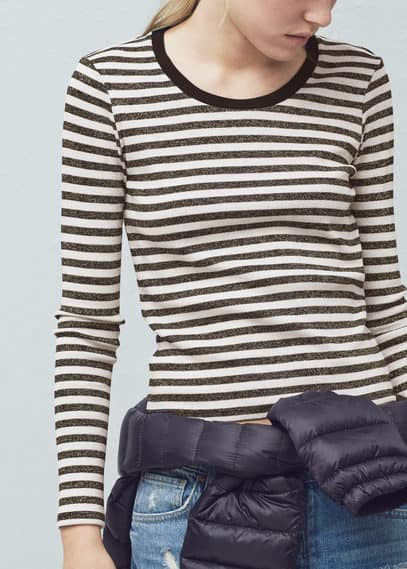 Металлизированная футболка с полосками | MANGO