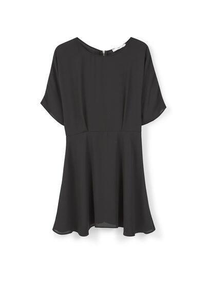 Robe Jupe Évasée - Tissu fluide, col rond, manches courtes, jupe évasée, fermeture Éclair à l'arrière, doublure.