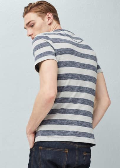 T-shirt piqué de coton rayé | MANGO MAN
