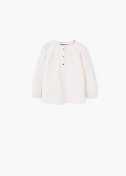 Openwork cotton shirt   MANGO KIDS
