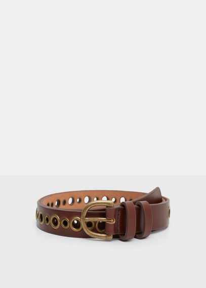 Stud leather belt | VIOLETA BY MANGO