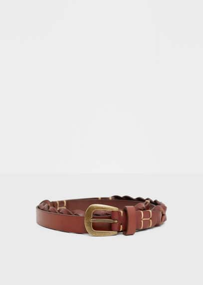 Braided leather belt | VIOLETA BY MANGO